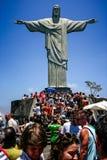 Het standbeeld van Christus de Verlosser, Corcovado-Berg, Rio de Janeiro, Brazilië fotografeerde van vooraan Royalty-vrije Stock Foto