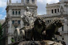 Het standbeeld van Cibeles in Madrid stock fotografie