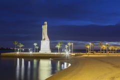 Het standbeeld van Columbus in Huelva, Spanje stock afbeeldingen