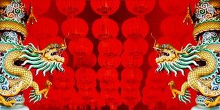 Het standbeeld van de draak met Chinese Rode lantaarns Royalty-vrije Stock Afbeelding
