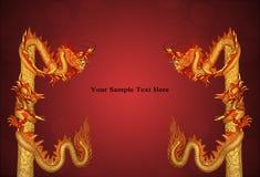 Het Standbeeld van de draak op rode achtergrond, behang Royalty-vrije Stock Afbeeldingen