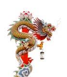 Het standbeeld van de draak op witte achtergrond Royalty-vrije Stock Foto's