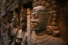 Angkor Wat, standbeeld in Kambodja Stock Afbeelding