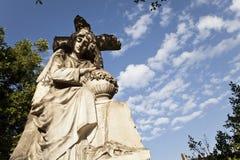 Het standbeeld van de madonna bij cementery Stock Fotografie