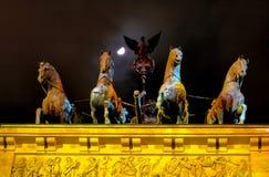 Het Standbeeld van de Poort van Brandenburg, Berlijn Stock Foto