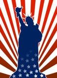 Het standbeeld van de vrijheid in Amerikaanse vlag Stock Foto