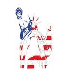 Het Standbeeld van de vrijheid met de vlag van de V.S. vector illustratie