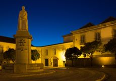 Het standbeeld van Dom Francisco Gomes de Avelar in Faro, Portugal Stock Afbeelding