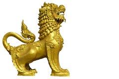Het standbeeld van een gouden leeuw royalty-vrije stock afbeelding