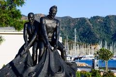 Het standbeeld van Fishermans bij Marmaris-stadsdijk royalty-vrije stock afbeeldingen