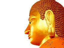 Het standbeeld van gezichtsboedha op geïsoleerd stock foto's