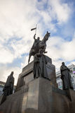 Het standbeeld van heilige Wenceslas op Vaclavske Namesti in Praag Stock Foto