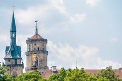 Het standbeeld van het kwik in Schlossplatz, Duitsland royalty-vrije stock fotografie