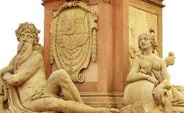 Het standbeeld van Karl Teodor, Oude Brug in Heidelberg Stock Afbeeldingen