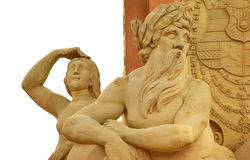 Het standbeeld van Karl Teodor, Oude Brug in Heidelberg Royalty-vrije Stock Afbeelding