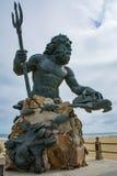 Het standbeeld van Koning Neptune bewaakt Virginia Beach Stock Afbeeldingen