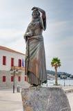 Het standbeeld van Laskarina Bouboulina, Spetses-eiland, Griekenland Stock Afbeelding