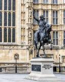 Het standbeeld van Londen van Richard de Lion op StMargaret ST Royalty-vrije Stock Foto
