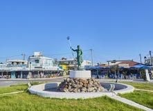 Het standbeeld van Neptunus in het dorp van Mastichari Kos, Egeïsch Zuiden, stock fotografie