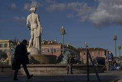Het standbeeld van Neptunus, Nice, Frankrijk Stock Foto