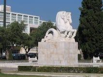 Het standbeeld van paarden - Lissabon Stock Foto's