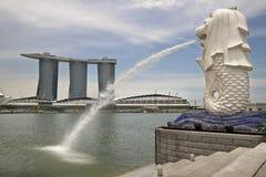 Het Standbeeld van Singapore Merlion stock foto's