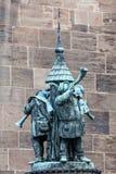 Het standbeeld van trompetmusici Stock Foto