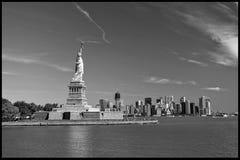Het standbeeld van Vrijheid, Oriëntatiepunten van de Stad van New York stock afbeelding