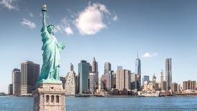 Het standbeeld van Vrijheid, Oriëntatiepunten van de Stad van New York Royalty-vrije Stock Foto