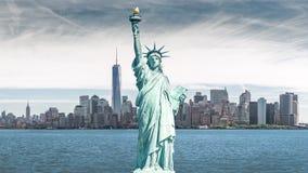Het standbeeld van Vrijheid, Oriëntatiepunten van de Stad van New York royalty-vrije stock foto's