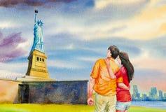 Het standbeeld van Vrijheid, Waterverf het schilderen stock illustratie