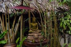 Het standbeeldzitting van Boedha onder een struik bij een bamboehut Royalty-vrije Stock Fotografie