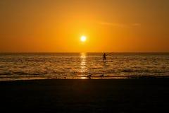 Het Standup paddeling bij zonsondergang stock foto
