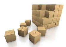 Het stapelen van kartondozen Stock Afbeelding