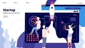Het start landen Het ruimteschipraket van de mensen begint de succesvolle lancering, nieuw bedrijfs innovatief project Startapp v royalty-vrije illustratie