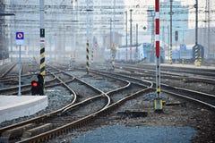 Het station en de sporen Brno Tsjechische Republiek Centrale post Koln, Duitsland in 2013/05 Royalty-vrije Stock Fotografie
