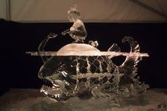 Het 20ste Internationale Festival van het Ijsbeeldhouwwerk in Jelgava Letland royalty-vrije stock foto's