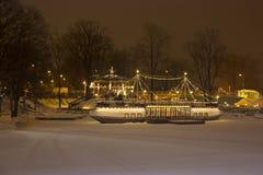 Het 20ste Internationale Festival van het Ijsbeeldhouwwerk in Jelgava Letland royalty-vrije stock foto