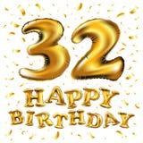 het 32ste Ontwerp van de Verjaardagsviering, met wolken en ballons, confettien Vectormalplaatjeelementen voor uw, tweeëndertig ja vector illustratie