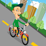 Het stedelijke biking - tiener en fiets in stad vector illustratie