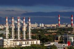 Het stedelijke industriële landschap van Moskou Stock Foto