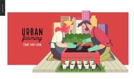 Het stedelijke landbouw en tuinieren royalty-vrije illustratie