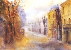 Het stedelijke landschap van de herfst Stock Afbeelding