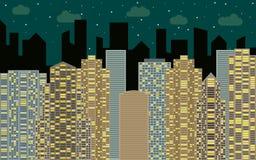 Het stedelijke landschap van de nacht Straatmening met cityscape, wolkenkrabbers en moderne gebouwen Royalty-vrije Stock Foto