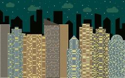 Het stedelijke landschap van de nacht Straatmening met cityscape, wolkenkrabbers en moderne gebouwen Royalty-vrije Stock Afbeelding
