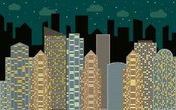 Het stedelijke landschap van de nacht Straatmening met cityscape, wolkenkrabbers en moderne gebouwen Royalty-vrije Stock Afbeeldingen