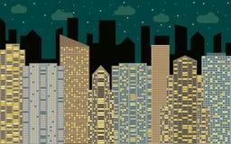 Het stedelijke landschap van de nacht Straatmening met cityscape, wolkenkrabbers en moderne gebouwen bij zonnige dag Stock Afbeelding