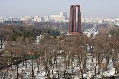 Het stedelijke landschap van de winter van Boekarest Stock Foto's