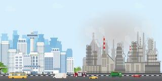 Het stedelijke stadslandschap met eigentijdse gebouwen en industriële rook betrekt de hemel stock illustratie