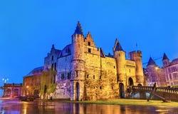 Het Steen, een middeleeuwse vesting in Antwerpen, België royalty-vrije stock afbeelding